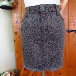 MUDD Animal Print Mini Stretchy Jean Skirt